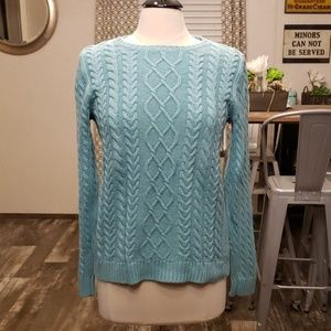 Croft & Barrow turquoise cable knit sweater M